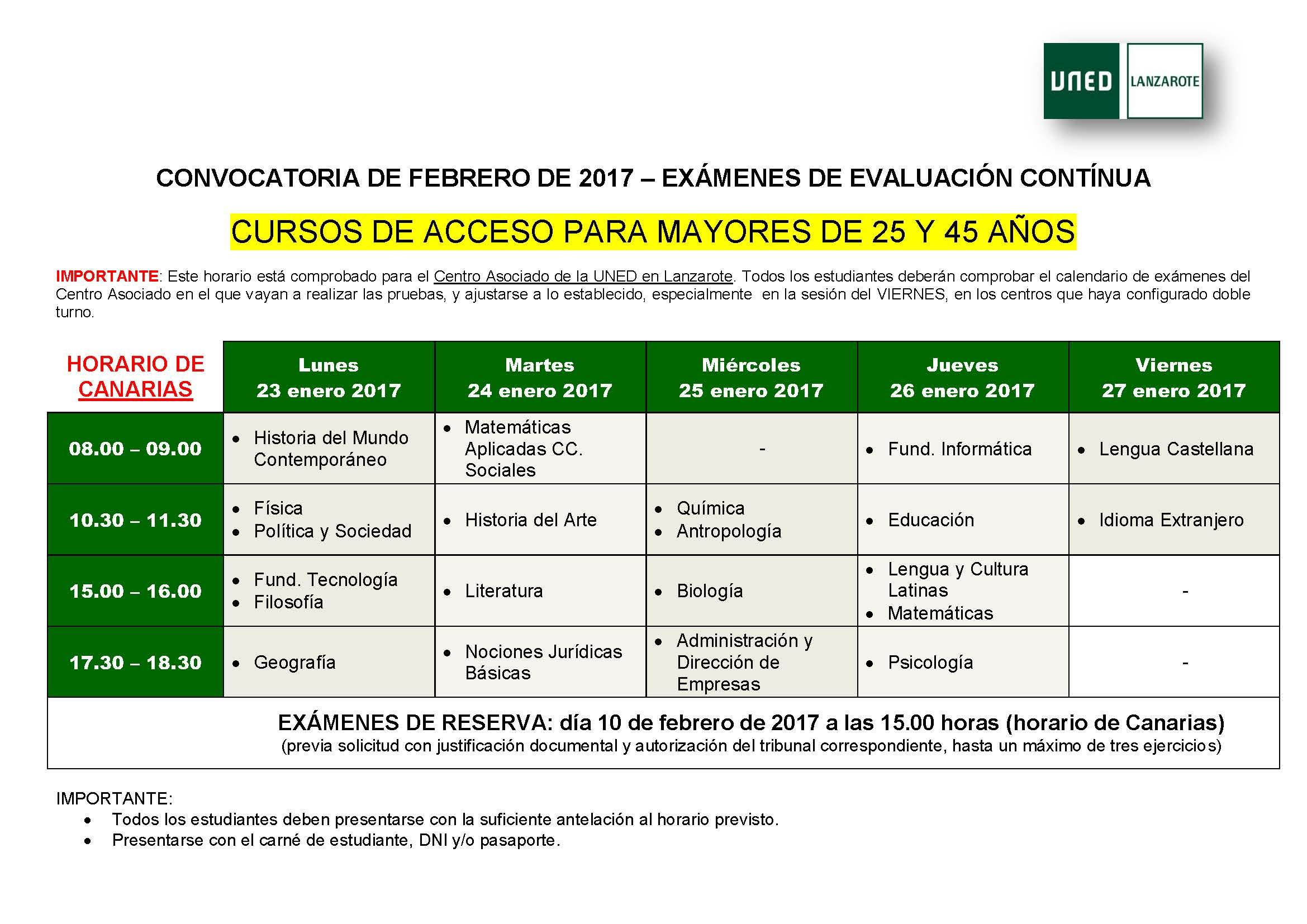Calendario De Examenes Uned.Examenes Del Curso De Acceso Para Mayores De 25 45 Anos